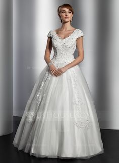 A-Line/Princess V-neck Floor-Length Satin Tulle Wedding Dress With Lace Sequins (002014820)