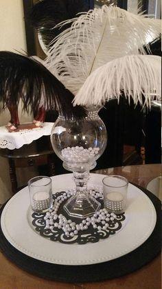 Gatsby Black and White Ostrich Feather Centerpiece-Ostrich Feathers-Sweet - DIY Mittelstücke Masquerade Party Centerpieces, Masquerade Ball Party, Masquerade Theme, Masquerade Wedding, Candle Centerpieces, Masquerade Ball Decorations, Gatsby Wedding Decorations, Sweet 16 Centerpieces, Quinceanera Decorations