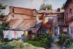 Vjacheslav Kurseev Watercolor Artists, Watercolor Landscape, Artist Painting, Watercolor Paintings, Watercolour, Salvador, Academic Art, Photo Wall, Cabin