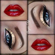 gold eyes and red lips = Wonder Woman makeup Red Lip Makeup, Love Makeup, Beauty Makeup, Makeup Looks, Hair Makeup, Gorgeous Makeup, Makeup Geek, Queen Makeup, Black Makeup