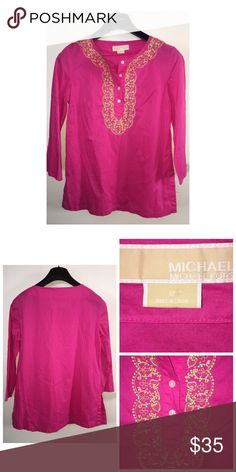 Michael Kors Embroidered Tunic Pre•loved Michael Kors Embroidered Tunic. Size M. Made of 100% Cotton. Pink with Gold embroidery. EUC MICHAEL Michael Kors Tops