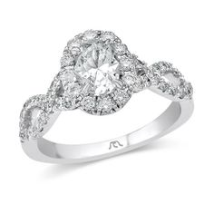 1-1/4 CT. T.W. Certified Oval Diamond Frame Twist Engagement Ring in Platinum (H/SI2)