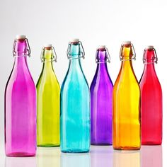 Colored glass bottles with latch tops. Yummy colors