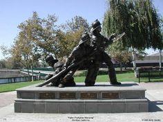 Fallen Firefighter Memorial in Stockton CA. Bronze sculpture by Betty Saletta.