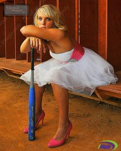 Lipstick and high heels...doesn't stop this gal from working hard on the field