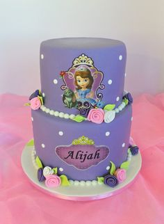 Design was brought in by client, by unknown cake artist. Crown was later put on by client. Sofia Birthday Cake, Girly Birthday Cakes, Princess Sofia Birthday, Party Treats, Party Cakes, Purple Cakes, Fashion Cakes, Girl Cakes, Cute Cakes