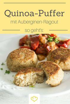 Ein gesunder Sattmacher: Quinoa-Taler mit Gemüse-Ragout. Ein super Rezept für Vollzeit- und Gelegenheits-Vegetarier!
