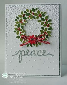 Silver Wreath Peace - SU Wondrous Wreath stamp set - Christmas - CAS - Christmas Greetings Thinlits, Softly Falling EF by Amy O'Neill