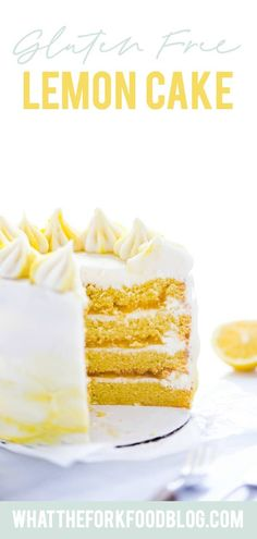 This simple Gluten Free Lemon Cake is one of THE BEST cakes I've ever had! Moist, tender cake layered with lemon curd and cream cheese frosting. It's absolutely delicious and you'd never know it was gluten free! This recipe makes 2 6-inch cake layers that are sliced and turned into a 4 layer cake. You can double the recipe and bake it as a 9 inch cake or 8 inch cake. This lemon cake recipe is perfect for Easter, Mother's Day, graduation parties, wedding showers, baby showers, and birthday… Donut Recipes, Pudding Recipes, Sweets Recipes, Cake Recipes, Gluten Free Lemon Cake, Gluten Free Cakes, Gluten Free Wedding Cake, Lemon Layer Cakes, Macaron Cake