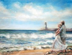 """Seascape romantic original painting print ocean couple beach seashore waves lighthouse""""I WOULD RATHER BE HERE"""" by Laurie Shanholtzer via Etsy."""