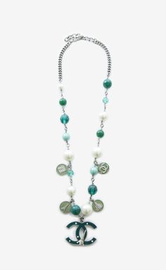 Chanel Silver, Green And Blue Necklace