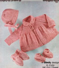Baby KNITTING Pattern Matinee coat/Jacket Bonnet by carolrosa, $1.74