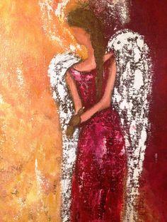 Scripture Abstract Angel Art Original by Florinda on Etsy