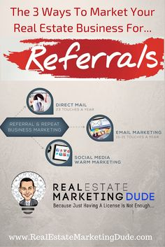 Referral marketing is key to any real estate agents business. Referrals and repeat business account for over of real estate agent business. Real Estate Business Plan, Real Estate Investing, Business Planning, Business Tips, Real Estate Marketing, Business Marketing, Online Marketing, Mail Marketing, Marketing Ideas