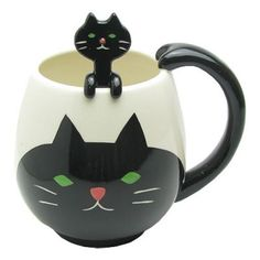 Decole Mug & Spoon Set Cat #POTTERY #COFFEE #TEA