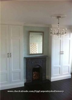 replace fireplace in upstairs front room& mdf fitted wardrobes either side Alcove Wardrobe, Bedroom Alcove, Bedroom Built In Wardrobe, Home Bedroom, Bedroom Decor, Bedroom Ideas, Master Bedroom, Wardrobe Design, Bedroom Storage