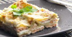 Recette de Lasagnes au saumon, poireaux et champignons, sauce béchamel légère. Facile et rapide à réaliser, goûteuse et diététique.