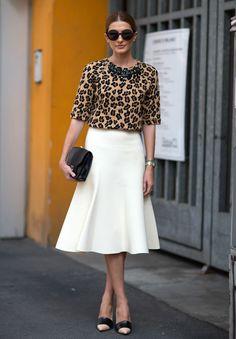 Leopard blouse + white midi skirt + cap toed heels + statement necklace