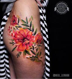 Red Lenara flower tattoo