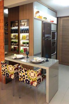 Fotos de Cozinhas Moderno: Sala e Cozinha em Tons de CInza