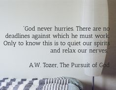"""""""God never hurries. There are no deadlines against which he must work. Only to know this is to quiet our spirits and relax our nerves.""""  A.W. Tozer, The Pursuit of God"""