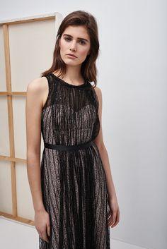 Vestido largo con encaje superpuesto - cóctel | Adolfo Dominguez shop online