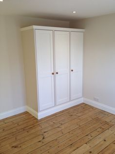 Finished painted wardrobes, Victorian floorboards. Painted Wardrobe, Solid Oak Doors, Fitted Wardrobes, Armoire, Tall Cabinet Storage, Drawers, Boards, Victorian, Flooring