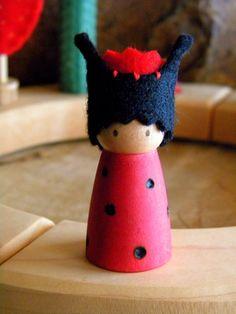 Lady Bug Birthday Ring Decoration, Small Lady Bug Peg Doll, red, black, wood burned wings, crown, Waldorf decor, Boy or Girl Birthday via Etsy