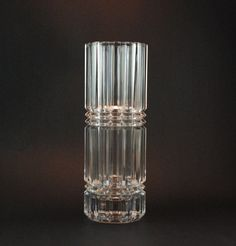 Vintage Geometric Glass Vase - Pressed Glass - Czech Bohemian Glass, Perhaps Sklo Union
