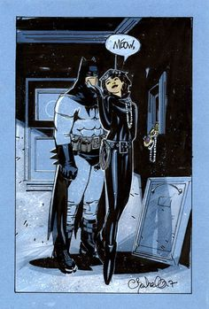 "Batman & Catwoman by Chris Bachalo  ""Batman's getting it in"