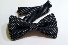 Black, white polka dot bow tie with adjustable strap // Mens/teen, women's, boys