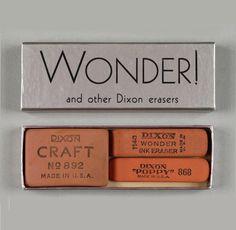 Wonder! and other Dixon Erasers, 1930. USA. Via Huntington Digital Archive