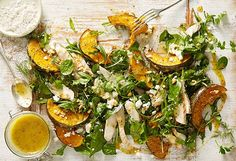 For dressing, fill ingredients into a jar, shake and pour. For salad, preheat oven to Line an ov. Honey And Mustard Salad, Roast Pumpkin Salad, Spinach Stuffed Chicken, Chicken Salad, Cooking Recipes, Healthy Recipes, Healthy Food, Meat Lovers, Evening Meals