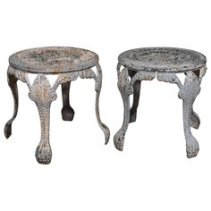 Pair of 19th Century English Garden Stools | From a unique collection of antique and modern footstools at https://www.1stdibs.com/furniture/seating/footstools/