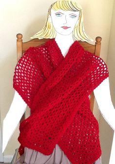 Poppy Red Stole Handmade Wool Blend by LynnsCreativeCrochet, $39.00
