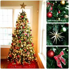 The perfect and simple, traditional Christmas tree decorations.  Green, Gold, Red.  Christmas tree idea. www.duvalreynolds.com