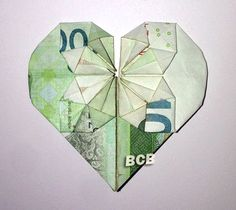 Origami Heart made with Korean Money - 10000 won