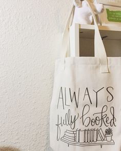 Tote Bag - Always Fully Booked tote bag - book bag - book lover - gift for reader - library bag - heavyweight cotton canvas bag - T0004 by papersushi on Etsy https://www.etsy.com/listing/270975292/tote-bag-always-fully-booked-tote-bag