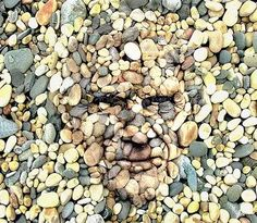 man's face in the rocks