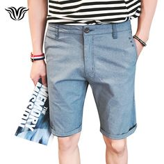 Men's Beach Casual Off White Shorts Fashion Solid Color 97% Cotton Comfortable High-quality Brand British Slim Business Shorts