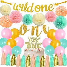 Wild One Birthday Decorations Girl Boho Floral 1st Birthday Party Decorations Mint Peach Gold with Wild One Highchair Banner Garland Cake Topper - Default