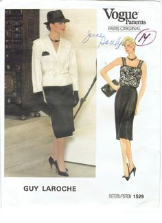 Vogue Guy Laroche Paris Original Pattern 1529. by MiAbDryGoods