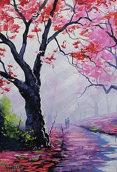 ON SALE Award winning Artist tree Paintings Pink wall art Landscape by G. Value Painting, Pink Painting, Autumn Painting, Painting Prints, Painting Art, Art Mural Rose, Pink Trees, Pink Wall Art, Pink Walls