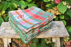 Set of Six Vintage French square napkins par LaBourgognedeNath