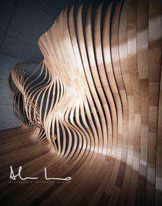 Living Parquet by Alessandro innocenti, via Behance Parametric Architecture, Parametric Design, Organic Architecture, Art And Architecture, Instalation Art, Digital Fabrication, Wow Art, Photomontage, Wood Design