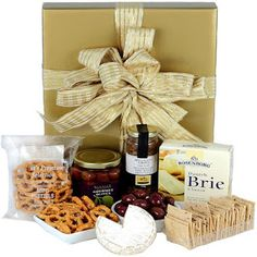 Presented in a glossy posie box with ribbons and attached gift card. Get Well Gift Baskets, Wine Gift Baskets, Get Well Gifts, Brie, Marinated Olives, Gourmet Gifts, Gift Hampers, Pretzel, Best Gifts