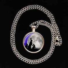 Moon-Gazing-Hare-Family-Glass-Image-Pendant-necklace-UNIQUE-pagan-gift-present