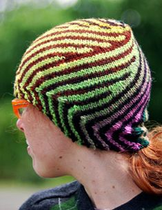 Free Knitting Pattern for Vortex Hat - This striking design is created with short rows and comes in a version with a point and without. Two sizes. Designed by Lee Meredith