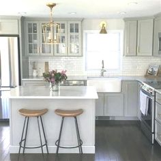 Small Kitchen Makeover NEW Authentic Visual Comfort Darlana Chandelier Mini Pendant 2175 Open Cage Home Renovation, Home Remodeling, Small Kitchen Remodeling, Small House Renovation, Kitchen Decorating, Sweet Home, Grey Kitchen Cabinets, Shaker Cabinets, White Cabinets