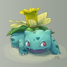 This Bulbasaur is SO excited to grow a daffodil